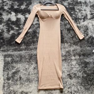 LAST DAY! Oh Polly Nude Long Sleeve Dress